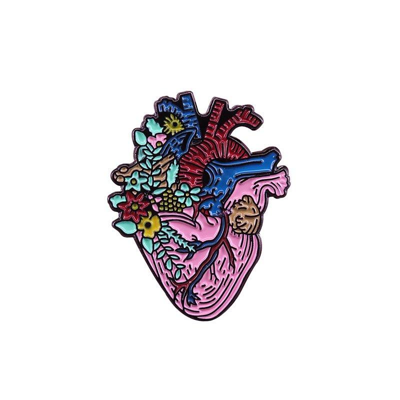 Металлический значок (пин) Heart Flowers, арт. 10142 1